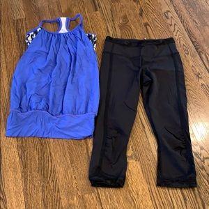 Lululemon leggings and built in bra tank, size 4